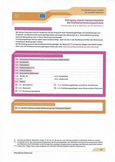 formulář E106 formulář S1